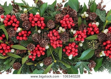 Christmas and winter background with holly, ivy, mistletoe, blue spruce fir and cedar cypress greenery.