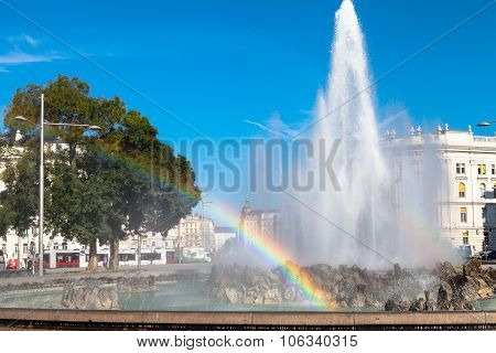 Rainbow At Hochstrahlbrunnen Fountain, Vienna
