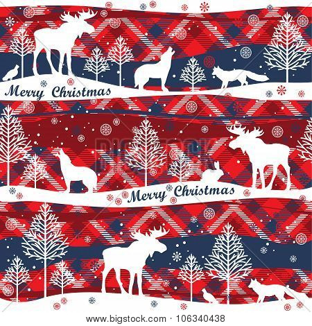 Merry Christmas And Happy New Year Background. Seamless Pattern.