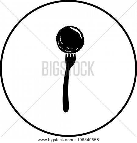 meatball in fork symbol