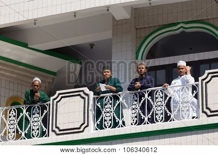 Young Happy Muslim Teenagers In Mosque
