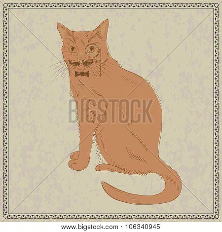 Cute Hand Drawn Gentleman Cat in Bow Tie Monocle