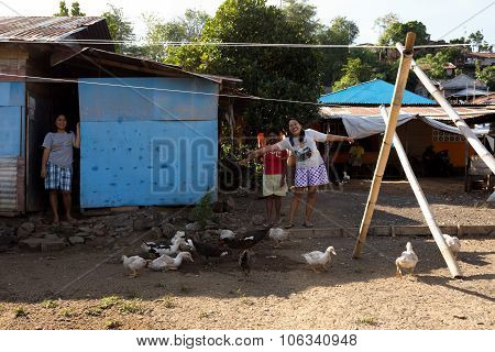 Happy Indonesian Womans In Manado Shantytown