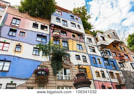 Decorated Walls Of Hundertwasser House In Vienna