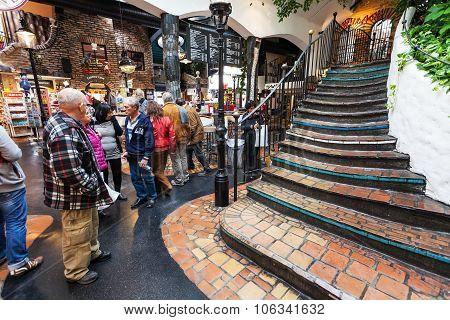 Shopping Area Near Hundertwasser House In Vienna