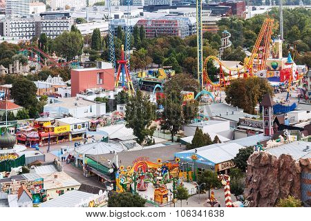 Above View Of Amusement Park Prater In Vienna