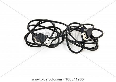 Usb Cable Plug On White Background