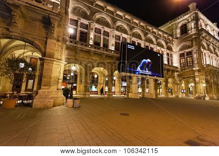 Performance In Vienna State Opera House In Night
