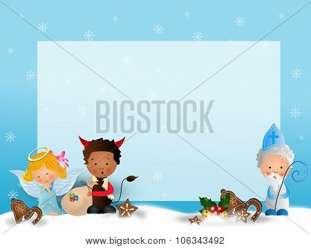 Saint Nicholas With Angel And Devil On Blue Background