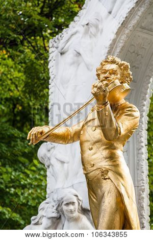 Statue Johann Strauss Son Close Up In Stadtpark