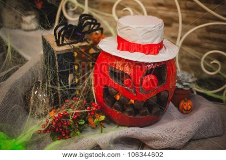 Amazing halloween pumpkin in red color