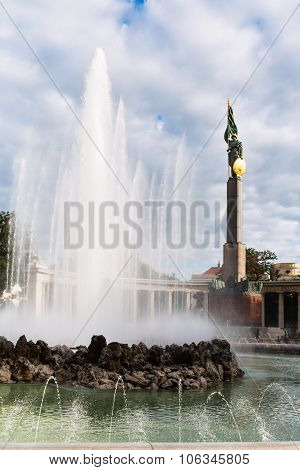 Fountain And Soviet Army War Memorial In Vienna