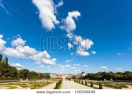 Blue Sky Over Gardens Of Belvedere Palaces