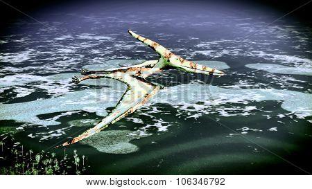Huge pterodactyl flying over land
