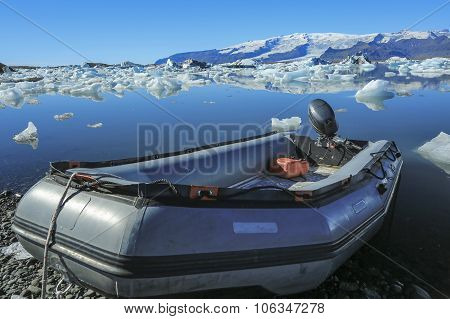 Jokulsarlon Is A Large Glacial Lake In Iceland With Inflatable Boats