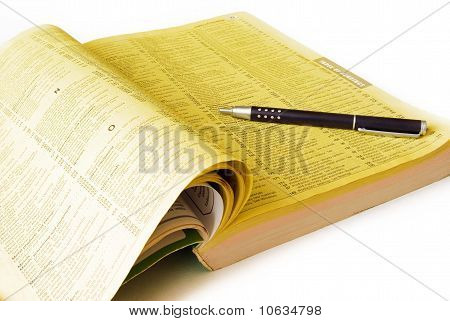 Yellow pages with black