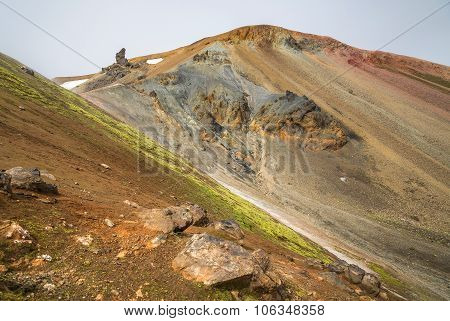 Landmannalaugar Colorful Mountains Landscape, Brennisteinsalda View, Iceland