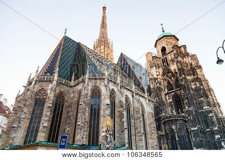 St. Francis Statue And Stephansdom, Vienna