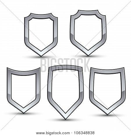 Set Of Heraldic Vector Emblem With Silver Outline, Collection Of 3D Conceptual Defense Geometric Bad
