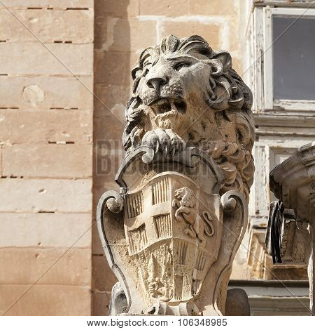 Statue Of Lion With Symbol Of Mata Ic Capital City Valletta