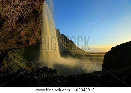 Seljalandsfoss Waterfall, Near Eyjafjallajokull Glacier In South Iceland.