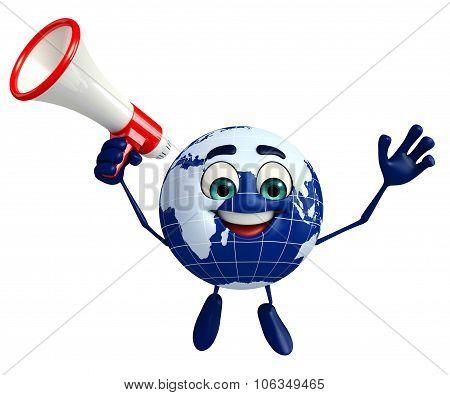 Globe Character With Loudspeaker