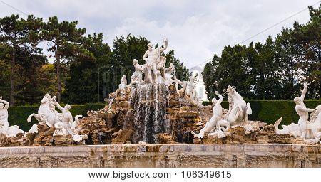 Neptune Fountain In Schonbrunn Palace Garden