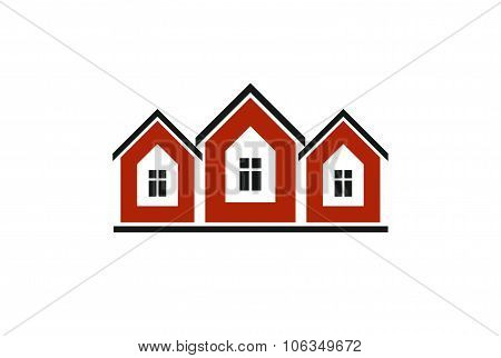 Colorful Holiday Houses Vector Illustration, Home Image. Touristic And Real Estate Creative Emblem,