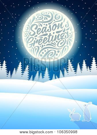 Christmas background with snowflakes, moon, hares and typographic lettering. Happy Season's greeting