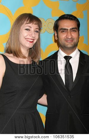 LOS ANGELES - JAN 11:  Emily Gordon, Kumail Nanjiani at the HBO Post Golden Globes Party at a Beverly Hilton on January 11, 2015 in Beverly Hills, CA