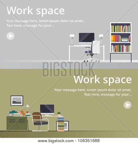 Office space in flat style. Home office