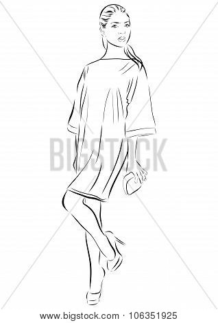 Beautiful woman face hand drawn outline illustration.
