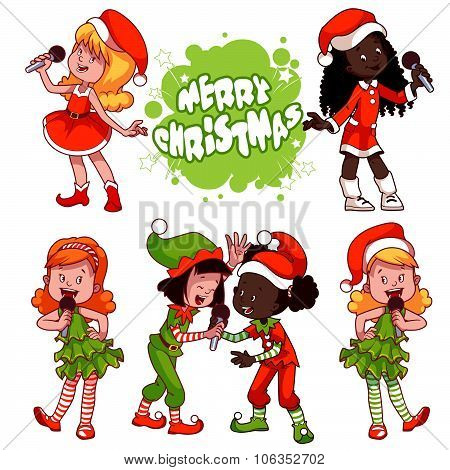 Girls In Christmas Dress Singing With Microphone