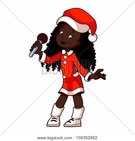 Girl In Christmas Dress Singing With Microphone.