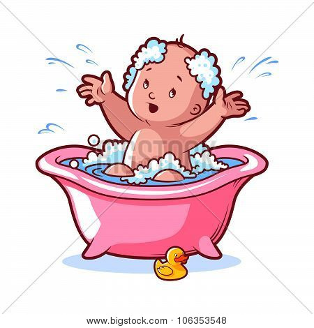 Baby Bathing In Pink Bath With Foam And Rubber Duck