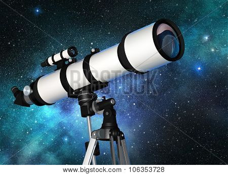 telescope in a starry blue sky