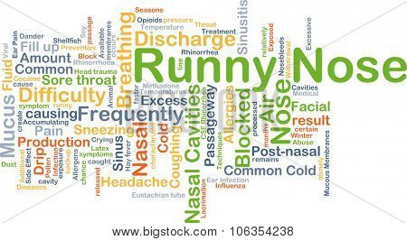 Background concept wordcloud illustration of runny nose