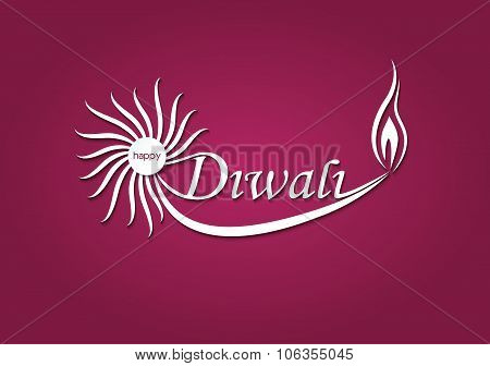 Art Diwali Text Design Vector Illustration