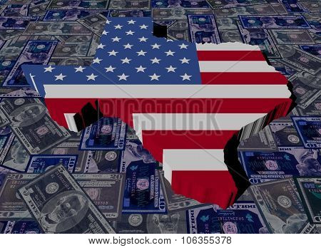 Texas map flag on dollars illustration