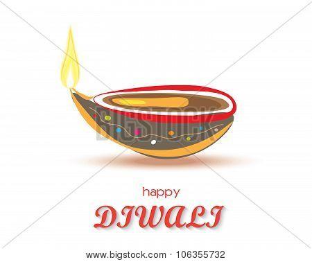 Happy Diwali Diya Card Design. Vector Illustration