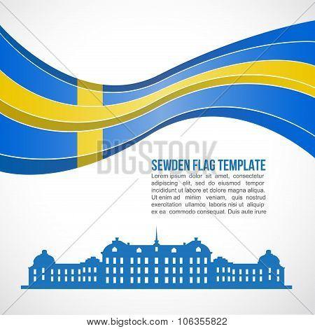 Sweden flag wave and drottningholm palace