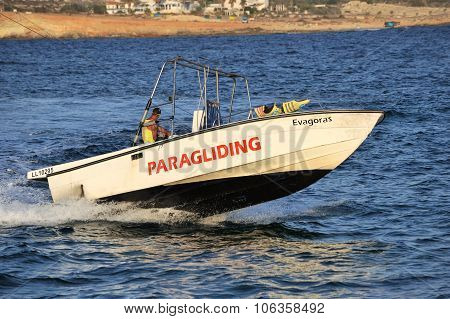 Mediterranean Sea, Boat with Captain floating on waves