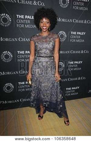 LOS ANGELES - OCT 26:  Teyonah Parris at the Paley Center's Hollywood Tribute to African-Americans in TV at the Beverly Wilshire Hotel on October 26, 2015 in Beverly Hills, CA