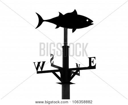Weathervane in the form of a fish on a white background