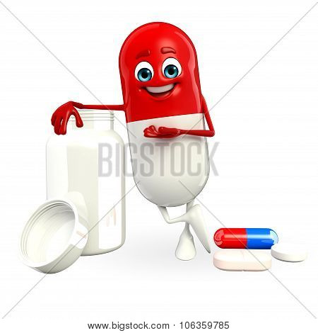 Pill Character With  Pills Bottle