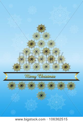 Blue background with Christmas tree from gilded snowflakes and golden ribbon