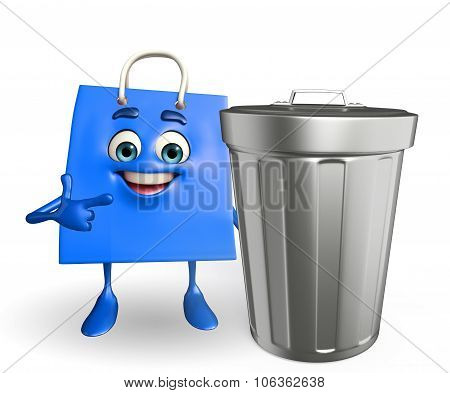 Shopping Bag Character With Dustbin