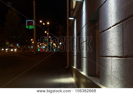 City Sidewalk At Night