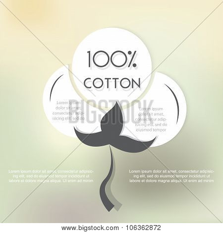 Cotton Label With Place For Text. Vector Illustration