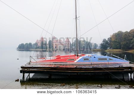 Catamaran And Castle In Trakai